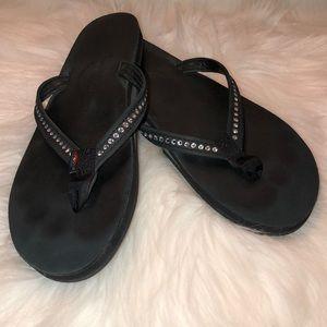 Rainbow - Black Rhinestone Flip Flops - Size Large